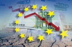 Unione Europea, crisi finanziaria in freccia rossa fotografia stock