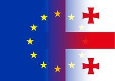 Unione Europea e bandiere di Georgia Fotografia Stock Libera da Diritti