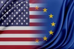 Unione Europea e gli Stati Uniti Il concetto della relazione fra l'UE e gli Stati Uniti Fotografia Stock Libera da Diritti