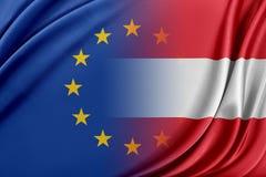 Unione Europea e l'Austria Il concetto della relazione fra l'UE e l'Austria Immagine Stock