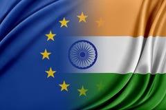 Unione Europea e l'India Il concetto della relazione fra l'UE e l'India Fotografia Stock Libera da Diritti