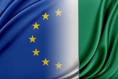 Unione Europea e la Nigeria Il concetto della relazione fra l'UE e la Nigeria Fotografia Stock Libera da Diritti