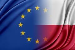 Unione Europea e la Polonia Il concetto della relazione fra l'UE e la Polonia Fotografia Stock