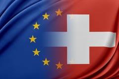 Unione Europea e la Svizzera Il concetto della relazione fra l'UE e la Svizzera Fotografie Stock Libere da Diritti