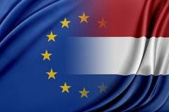 Unione Europea ed i Paesi Bassi Il concetto della relazione fra l'UE ed i Paesi Bassi Immagine Stock Libera da Diritti
