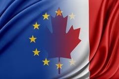 Unione Europea ed il Canada Il concetto della relazione fra l'UE ed il Canada Fotografia Stock