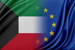 Unione Europea ed il Kuwait Il concetto della relazione fra l'UE ed il Kuwait Immagine Stock