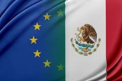 Unione Europea ed il Messico Il concetto della relazione fra l'UE ed il Messico Immagini Stock