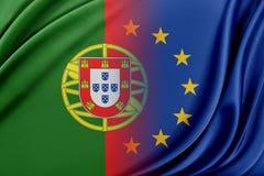Unione Europea ed il Portogallo Il concetto della relazione fra l'UE ed il Portogallo Immagini Stock