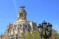 Unionen och Fenixen på dagsljus, Barcelona, Catalonia, Spanien Royaltyfri Bild