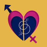 Unions by genders. Two gender symbols together within a heart in a yellow background Royalty Free Stock Images