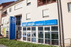 Uniqa insurance logo on  their main office Vukovar.