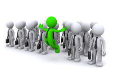 Uniqe 3d character standing out from the crowd Royalty Free Stock Photo