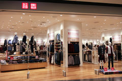 Uniqlo store , Japanese casual wear designer Royalty Free Stock Images