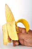 Unique. A banana inside having corn Stock Photo