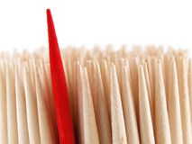 Unique. Red toothpick among many is the same winner and leader Royalty Free Stock Images