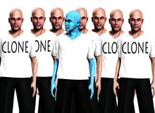 Unique 2. A conceptual image of a unique man, standing in front of a man that has been cloned many times Royalty Free Stock Photography