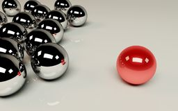 Unique. Red ball among the others Stock Photography