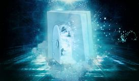 Unique Artistic Colorful 3d Rendering Computer Generated Illustration Of A Book Shaped Gate With An Other Dimensional Open Door On royalty free illustration