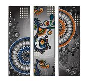 Unique abstract ethnic pattern card set Stock Image