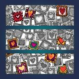 Unique abstract ethnic pattern card set Royalty Free Stock Photos