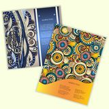 Unique Abstract Ethnic Pattern Card Set Stock Photos