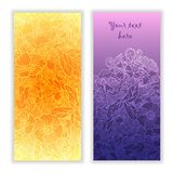 Unique abstract  hand drawn pattern cards Stock Images