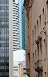 Unusual perspective old & new buildings Brisbane Stock Photography