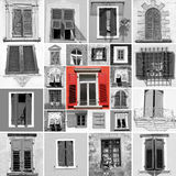 Unique. Abstract wall with many black and white windows and unique red window, images from Italy,Europe Stock Images