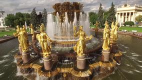 Park VDNKH in Moscow from above. Central walk and fountains. Happy people. Unique aerial view. Best weather. 4k stock video