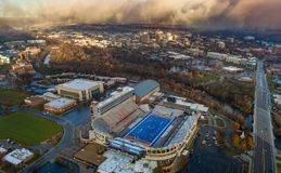 Unique aerial view of Boise State University with Boise skyline Royalty Free Stock Photography