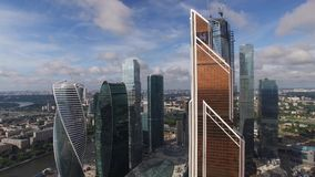 Mercury City Tower. Modern architecture buildings. Moscow city Russia from above. Downtown. Glass reflections, concrete and metal.
