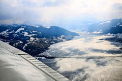 Unique airplane aerial view of central Swiss Alps. Royalty Free Stock Photography
