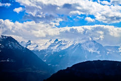 Unique airplane aerial view of central Swiss Alps. Royalty Free Stock Image