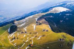 Unique airplane aerial view of Rigi ski resort Switzerland. Stock Photography
