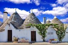 Unique Alberobello. Trulli village, Italy Royalty Free Stock Photography