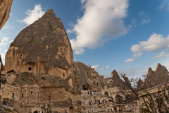 Unique ancient tuff stone cave village in Goreme C. Appadocia Turkey Stock Photo