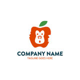 Unique Apple Monkey Negative Space Logo. With simple shape and colors, work fine on every materials, and perfect for your company Stock Photos