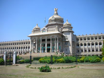 Unique Architecture. Closeup view of the famous Vidhana Soudha - the Legislature and Secretariat building - in Bangalore city, Karnataka State, India Stock Image