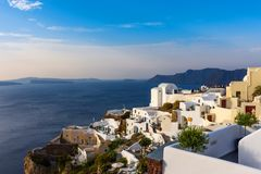 Unique architecture of Oia Santorini`s houses on the cliff stock photos