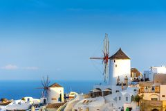 Unique architecture of Oia Santorini`s houses on the cliff stock image