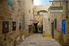Unique art and antique galleries at narrow streets Old Jaffa. Stock Image