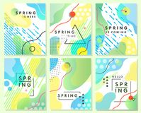 Unique artistic spring cards with bright gradient background. Shapes and geometric elements in memphis style.Abstract design cards perfect for prints,flyers Stock Image