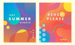 Unique artistic summer card. S with bright gradient background,shapes and geometric elements in memphis style.Abstract design cards perfect for prints,flyers royalty free illustration