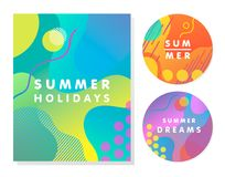 Unique artistic summer cards. With bright gradient background,shapes and geometric elements in memphis style.Abstract design cards perfect for prints,flyers vector illustration
