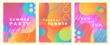 Unique artistic summer cards. With bright gradient background,shapes and geometric elements in memphis style.Abstract design cards perfect for prints,flyers Stock Photography