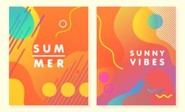 Unique artistic summer cards. With bright gradient background,shapes and geometric elements in memphis style.Abstract design cards perfect for prints,flyers stock illustration