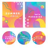 Unique artistic summer cards. With bright gradient background,shapes and geometric elements in memphis style.Abstract design cards perfect for prints,flyers royalty free illustration