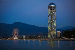 The unique attraction of Batumi is the alphabet tower. The unique attraction of Bai is the alphabet tower. Spiral metal tower with Georgian letters in the royalty free stock images