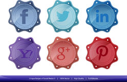 Unique Badges of Social Media Logo & Tagline Royalty Free Stock Images